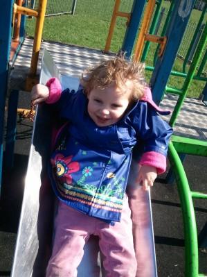 Sophia enjoying a slide