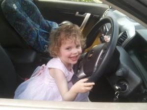 Sophia's new delight - driving cars